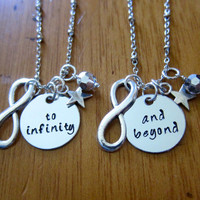 """Disney's """"Toy Story"""" Inspired Friendship Necklaces. To Infinity and Beyond! Buzz Lightyear. Set of 2. Swarovski crystals. Best friends & BFF"""