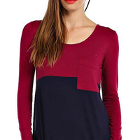Color Block Tunic Top - Burgundy and Black