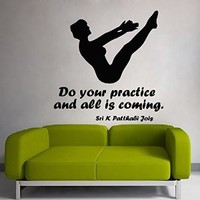 Wall Decor Vinyl Decal Sticker Quote Sport Girl Yoga Do Your Practice and All Is Coming Gym Bedroom Living Room Home Interior Design Kg818