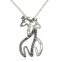 Twin Hugging Giraffe Pendant with Green Eyes-18""
