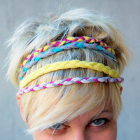 Set of 4 hairband of braided cotton jersey mixed by Artoleria