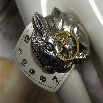 Steampunk Ring of Rabbit Looking Through the by FernStreetDesigns