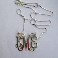 SILVER Monogram - silver necklace, Personalized Gift Silver 925, Gift for her, Monogram charm, silver monogram necklace , HUGE Initial chain