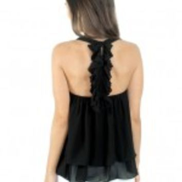 Black Top With Ruffle Racerback