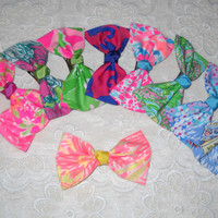 Preppy Lilly Pulitzer Fabric Hair Bow Barrette - Large in 10 Prints