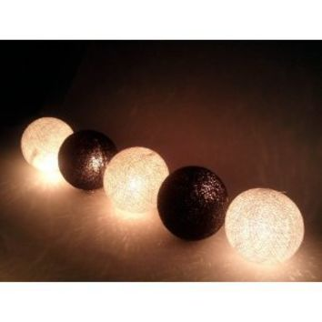 I Love Handicraft Black and White Cotton Ball String Lights Patio Wedding and Party Decoration (20 Balls/set)