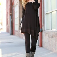 Asymmetrical Tunic Top with Cut Out Shoulders - Black