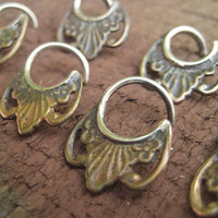 """SALE single small silver and brass hoop for septum or cartilage piercing jewelry 18g 16g or 14g  5/16"""" or 3/8"""""""