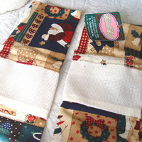 2 Fabric Christmas Hand Towels With Blank Cross Stitch Panel