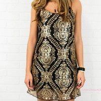 Disco Dreamin' Gold Sequin Cocktail Dress