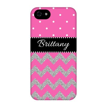 Pink Glitter Chevron Personalized Phone Case