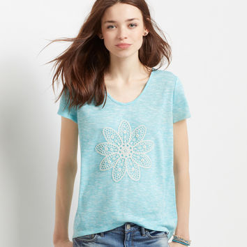 Sheer Crochet Flower Knit Hi-Lo Top