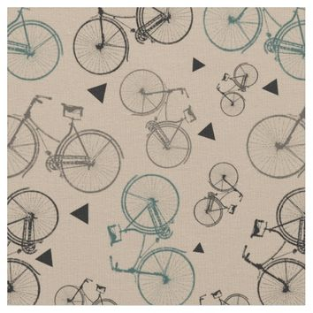 Retro Pattern Fabric|Gray Bicycles Print On Tan