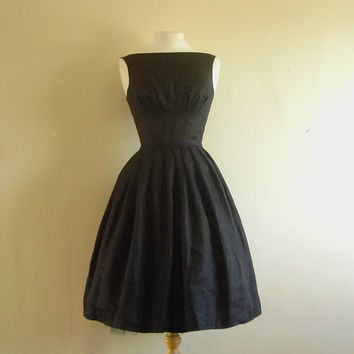 Black Linen Tiffany Prom Dress  Made by Dig For by digforvictory