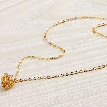 """Knot gold necklace, minimalist necklace, 24k gold vermeil, gift for her, everyday jewelry, bridesmaid necklace, """"Caliadne"""" Necklace"""