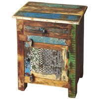 Distressed Wallpaper Side Table