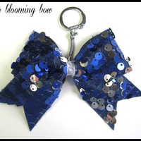 Cheer Bow Keychain - Blue and Silver Sequin