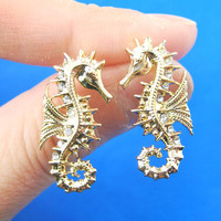 Seahorse Sea Animal Shaped Stud Earrings in Gold | Animal Jewelry