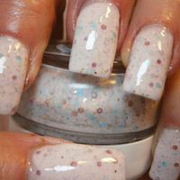 You're My Cuppy Cake Nail Lacquer - Sprinkled Confetti White Glitter Custom Nail Polish - Full Size Jar With Clear and Brush