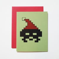 8 Bit Santa Invaderz christmas card, retro holiday video game