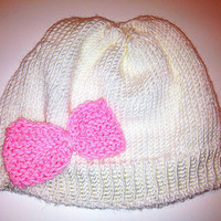 Baby Hat White Pink Bow Cute Preppy by PreciousBowtique on Etsy