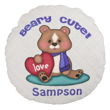 Custom Name Cute Kids Love Bear Throw Pillow