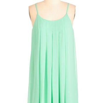 ModCloth Short Length Spaghetti Straps Shift Getaway Goddess Dress in Mint