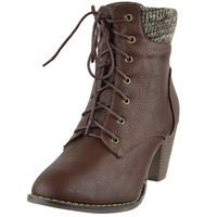 Womens Ankle Boots Knitted Collar Casual Dress Shoes Brown SZ