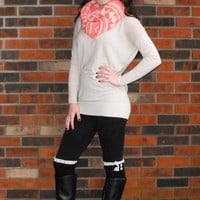 Coral Aztec Print Infinity Scarf