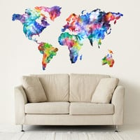 Full color Wall Decal Vinyl Sticker Decals Art Decor Design World Travel Map Watercolor paint countries City Nursery Bedroom Dorm (rcol46)