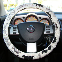 Mustache on Cream for Your Car Steering Wheel Cover by mammajane