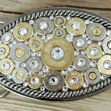 Oval Rope Border Bullet Belt Buckle