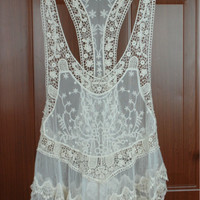 Swimsuit Cover Up, Gorgeous Lace Top Swimsuit Cover up