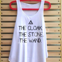 The cloak The wand The stone shirt Harry potter shirt deathly hallows tank top Harry Potter clothing lord voldemort vest tee tunic - size S