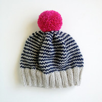 The Stripe-A-Thon Hat in Platinum, Navy, Raspberry - MADE TO ORDER