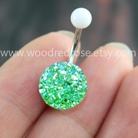 Sparkling belly ring,blingbling belly button ring,Green Navel Jewelry,Green Navel Piercing Ring Stud Piercing