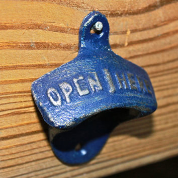 """Navy Blue """"OPEN HERE"""" Bottle Opener by AquaXpressions"""