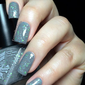 Ugly Sweater Party Nail Polish - Gray Wool - Funky Green Bling - Full Size 15 ml Bottle
