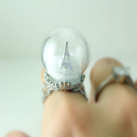[contact seller to buy] Winter in Paris Glass Globe Ring by DIVINEsweetness