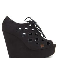 Resist-H Cut Out Detail Laceup Fx Suede Wedge