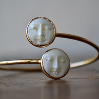 MAN In The MOON Bangle /// Electroformed Carved Bone Moon /// Gold/// Bracelet