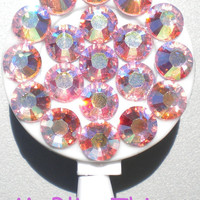 Iridescent Pink Light Rose AB Crystal Diamond Rhinestone BLING Retractable Reel ID Badge Holder handmade with Swarovski Elements
