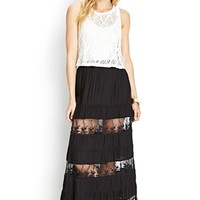 LOVE 21 Lace Tiered Maxi Skirt Black