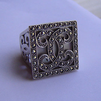 Massive Heavy 925 Solid marcasite, ring size 8