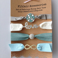 Limited Edition Set of Four Bling Hair Ties arm Candy Glam Pave Love Infinity Summer Sea Collection