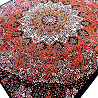 LARGE cotton psychedelic star tapestry, hippie bohemian mandala wall hanging, indian bedspread boho bedding throw, ethnic home decor art