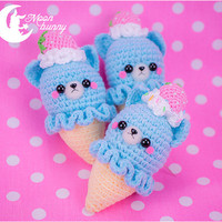 Crochet ice-cream cat Brooch and Hair clip