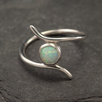 Opal ring- Silver Opal Ring- Sterling Silver Ring- Modern Opal Ring- handmade sterling silver jewelry- size 6, 6.5, 7