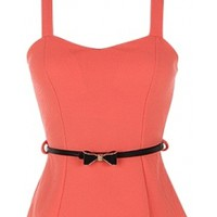 Coral Belted Top