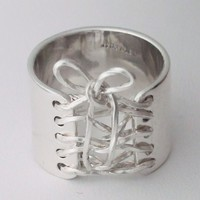 Sterling Silver Wide Band Wired Corset Ring With Bow Free Shipping